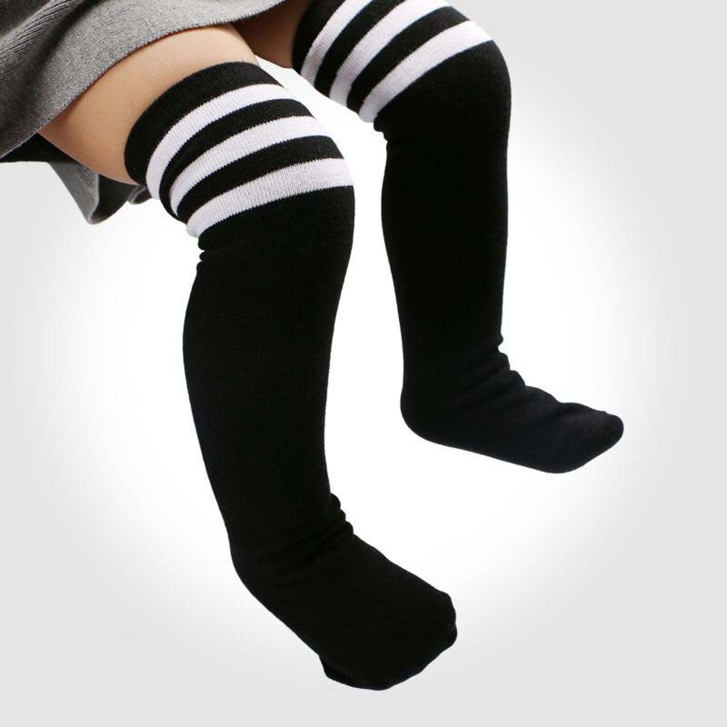 High Elasticity Girl Cotton Knee High Socks Uniform Placement Rotation Metal Shape Women Tube Socks