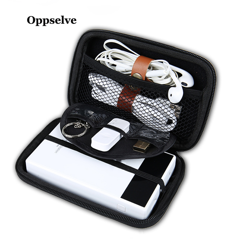 Oppselve External Storage Hard Case HDD SSD Bag For Hard Drive Power Bank USB Cable Charger Airpod Headphone Earphone Case Black