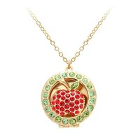 2016 New Design Hot Sale Necklace Aromatherapy Essential Oil Diffuser Choker Necklace Red Crystal Apple Locket
