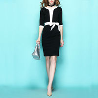 [Beperking] three kwart mouw zwart-wit kleurblok vlinder riem dress vintage dames kleine lente een-stuk dress