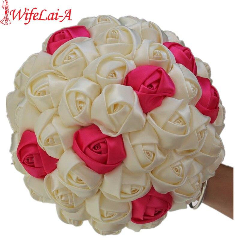 WifeLai-1 Шт 100% Ручной Работы Ленты Цветок Свадебные Букеты невесты Букет Кот Boque noiva Принять вашу Идею Пользовательские W223-1
