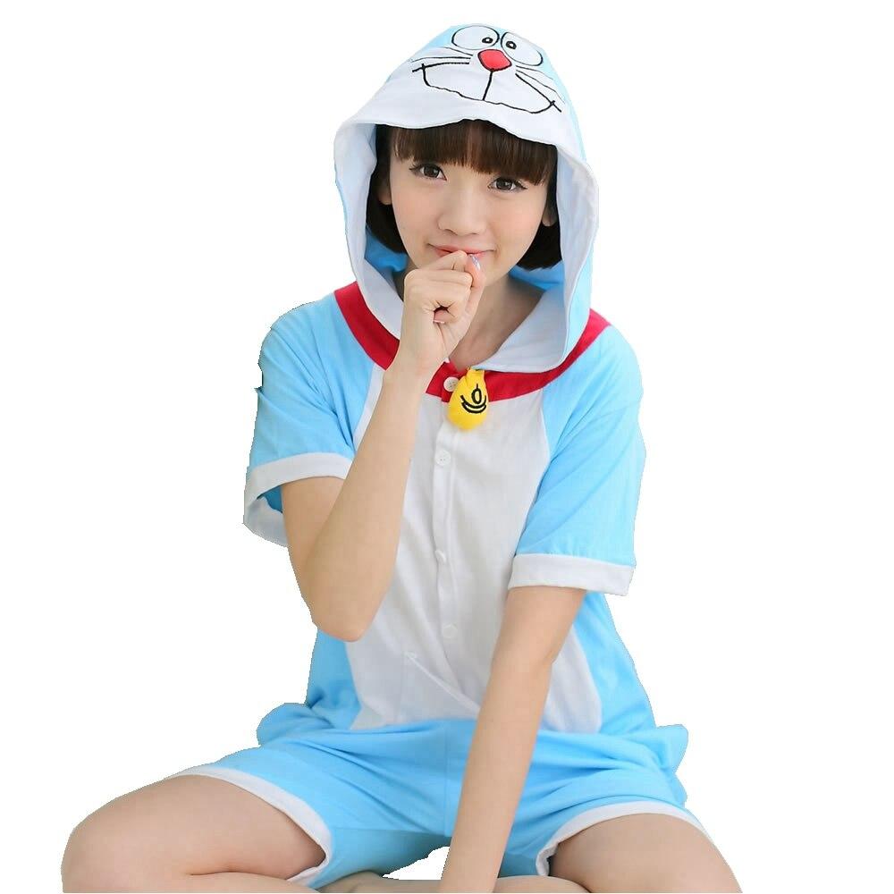 Doraemon Summer Short   Pajama     Set   Women Men Adult Animal Pijama Cotton Onesie Sleepwear Hoodie Halloween Holiday Party Costume