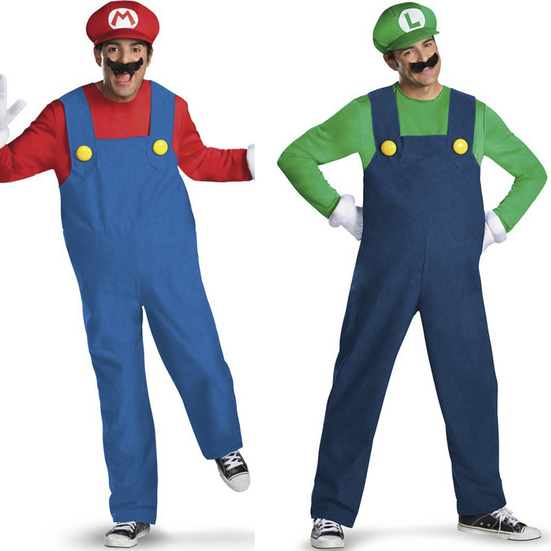 Adult Super Plumber Bros 80s Video Game Costume Mario & Luigi Workman Fancy Dress Shirt Rompers Hat Set