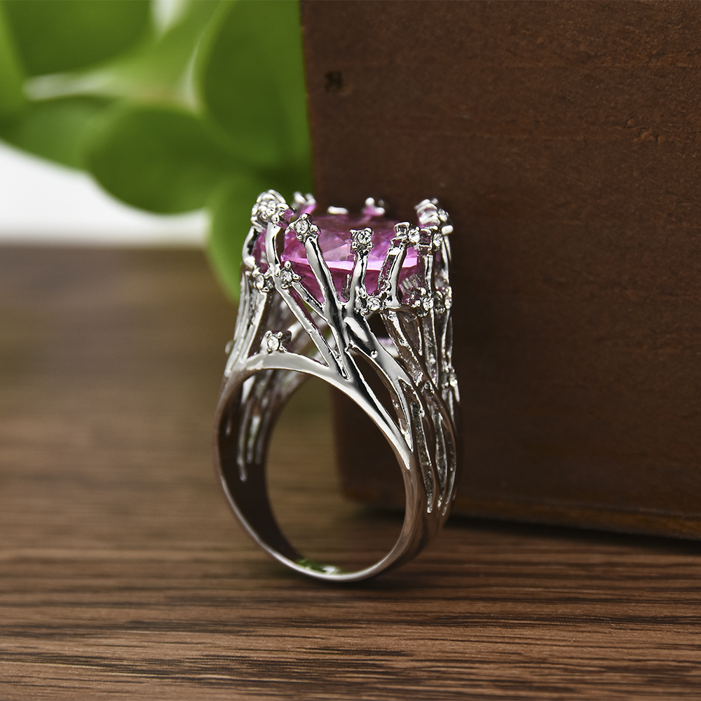 New Exaggerating Pink Big Crystal Silver Party Rings for women Wedding Engagement Hollow Ring Fashion Jewelry Gift Size 6-10