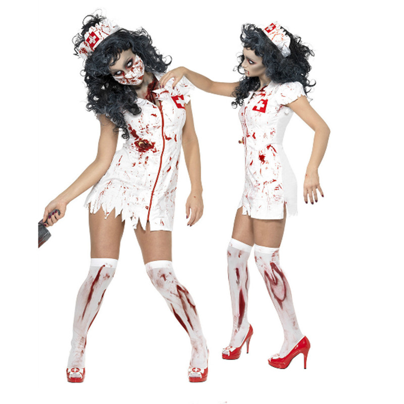 2018 New Bloody Nurse Costume Party Nurse Cosplay dress Adult Terror Doctor Clothing high quality Halloween Costumes For Women