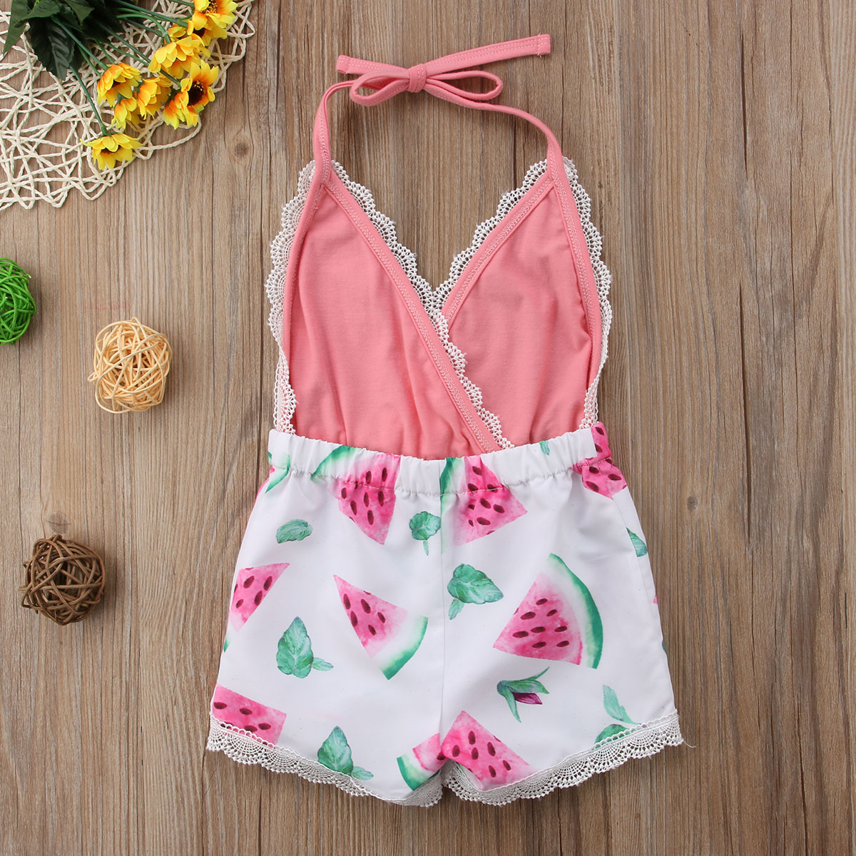 6c5c7ff0cb45 2018 Newborn Toddler Kids Baby Girl Romper Neck Sunflower Watermelon Jumpsuit  Outfits Sunsuit Cute Summer Clothes-in Rompers from Mother   Kids on ...