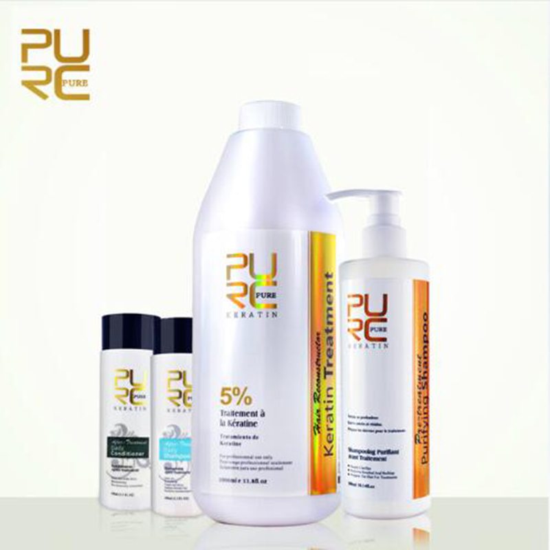 4 pcs set of toiletries 5% formalin Brazilian keratin hair care and 2 bottles of hair shampoo and 1 bottle of conditioner