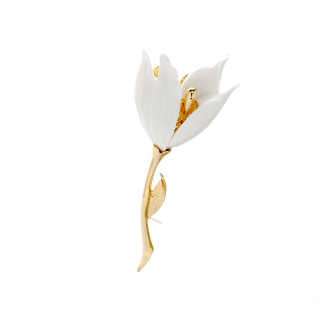 2018 free shipping fashion restoring ancient ways white tulip brooch pin Banquet