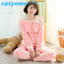 9cedb318797 Plus Size Winter Maternity Pajamas Set Cutyome Long Sleeve Flannel  Breastfeeding Nursing Nightgown Pregnant Women Sleepwear Robe