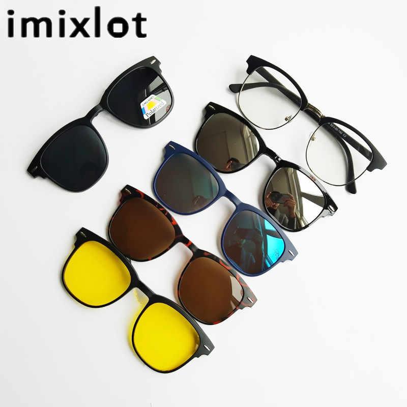 234c84b7e0 IMIXLOT 5pcs Magnetic Clip Sunglasses Women Glasses with Polarized  Eyeglasses Myopia Optical Reading Frame with Package