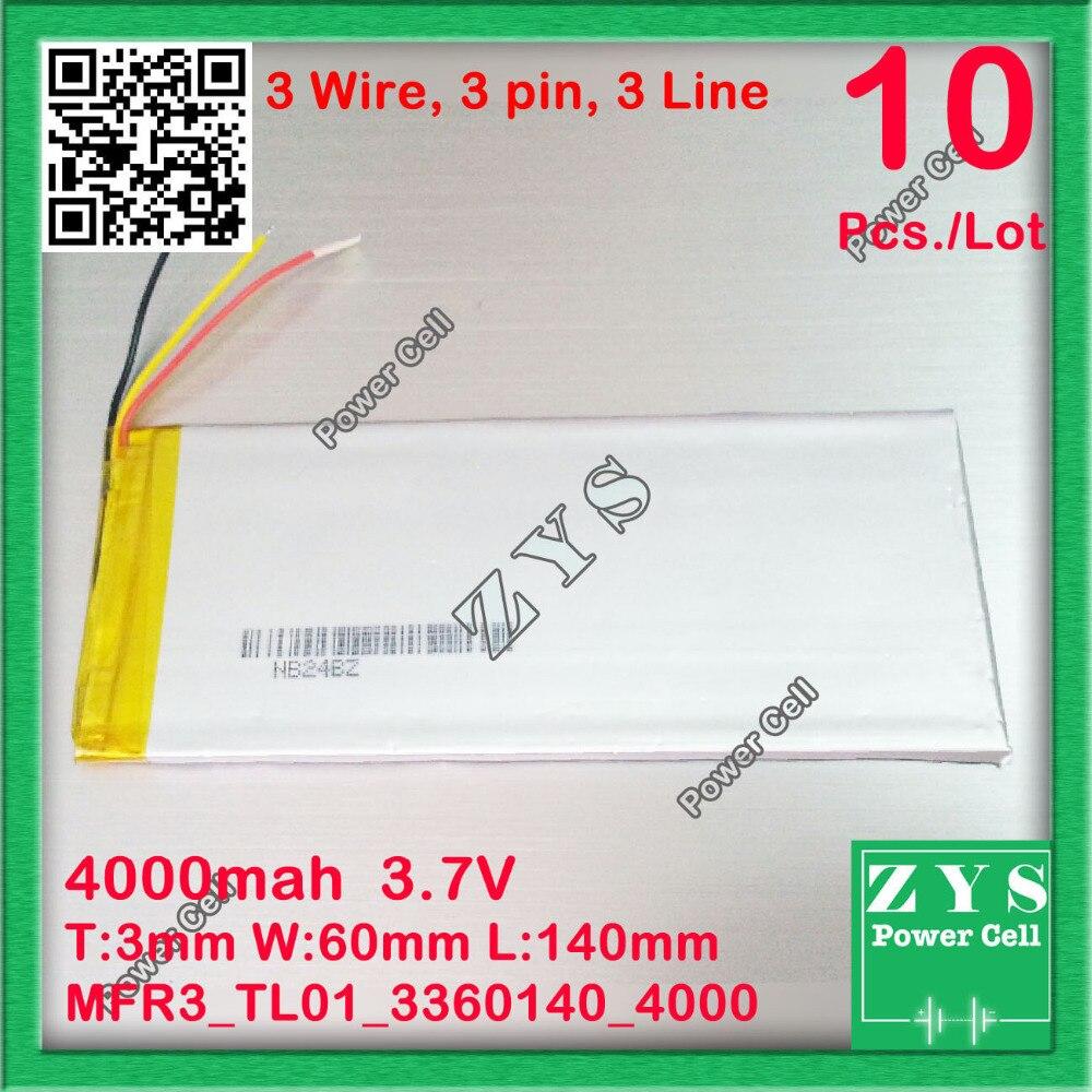 10 шт./лот 3 провода, 4000 мА/ч, литий ионная батарея для планшетного ПК для 7,8, 9 дюймового планшетного ПК ICOO 3,7 V 4000 мА/ч, 3360140 3060140 3,3x60x143 мм