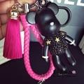 Bomgom Tassels Cartoon Popobe Gloomy Bear Keychain Cute Bag Charm Holder Cartoon Resin Key Chain   K004-rose