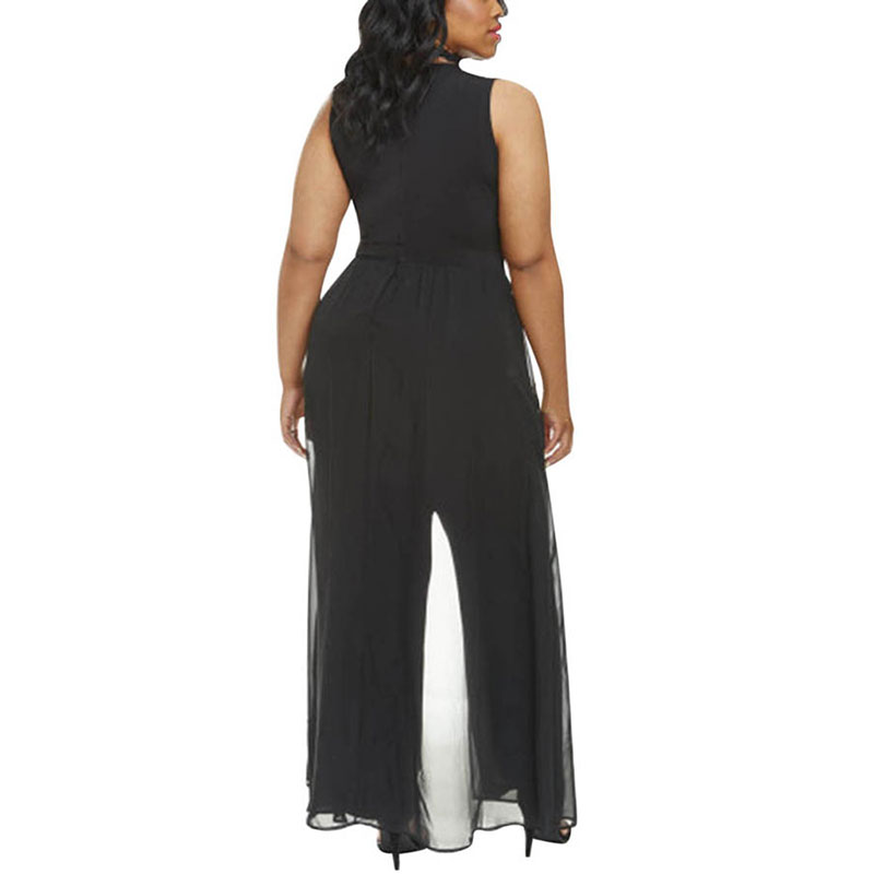 6e2f2a27b83 Pink Queen Women s Plus Size Sleeveless Long Pants Jumpsuit with Chiffon  Overlay Black White Wide Leg Jumpsuits Malla Sexy