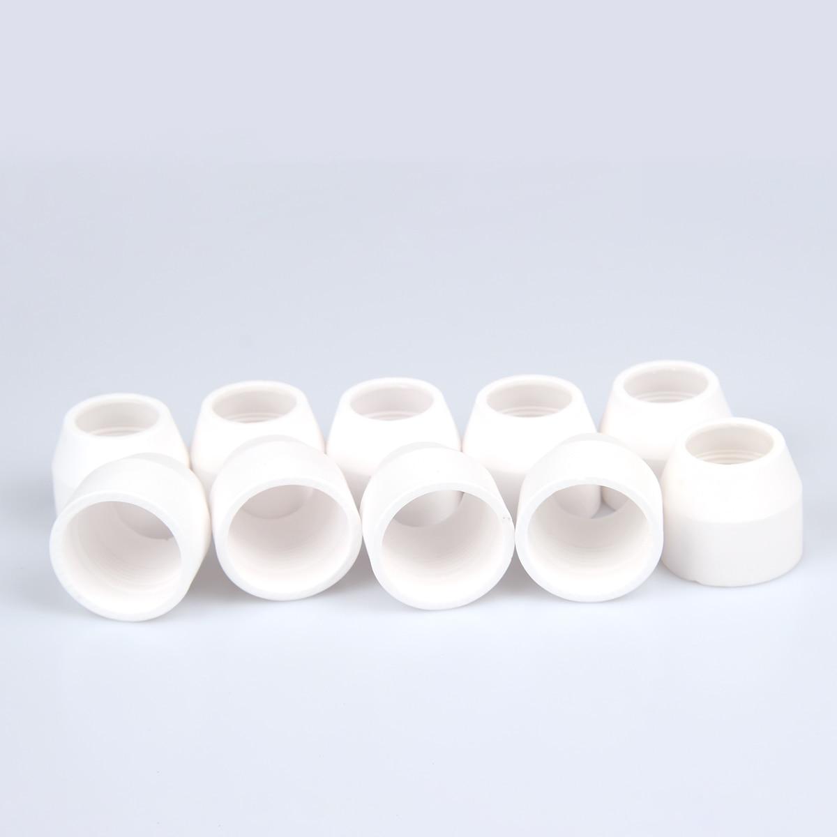 10Pcs P80 Ceramic Shield Cup/Cap Inverte Air Plasma Cutter Cutting Machine Torch Gun Consumables Accessories Spare Parts