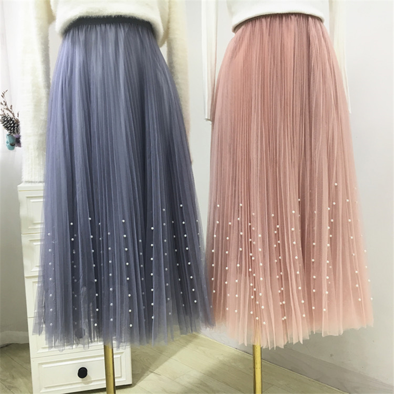 New 2019 Spring Summer Skirts Womens Beading Mesh Tulle Skirt Women Elastic High Waist A Line Mid Calf Midi Long Pleated Skirt 17