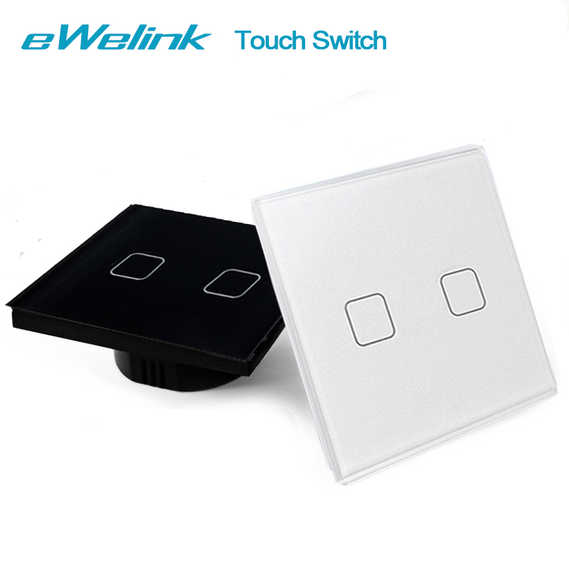 eWelink EU/UK Standard Touch Switch, Crystal Glass Panel Touch Switch Light Switch 2 Gang 1 Way Wall Touch Switch For Smart Home smart home eu touch switch wireless remote control wall touch switch 3 gang 1 way white crystal glass panel waterproof power