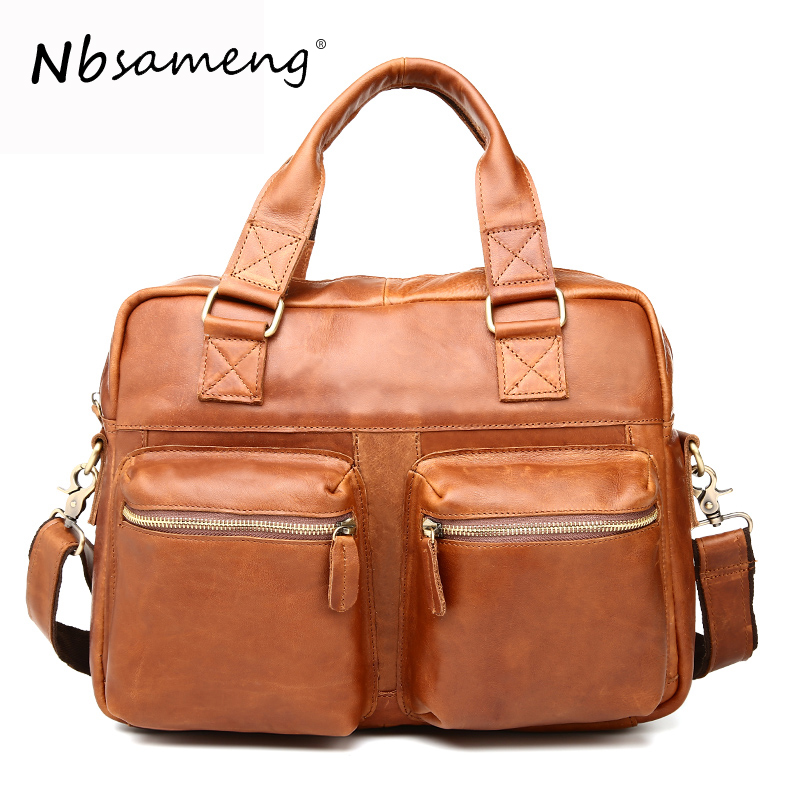 NBSAMENG Genuine Leather Men Handbags Male Casual Business Shoulder Bag Briefcase Messenger Bag Travel Bags padieoe men s genuine leather briefcase famous brand business cowhide leather men messenger bag casual handbags shoulder bags