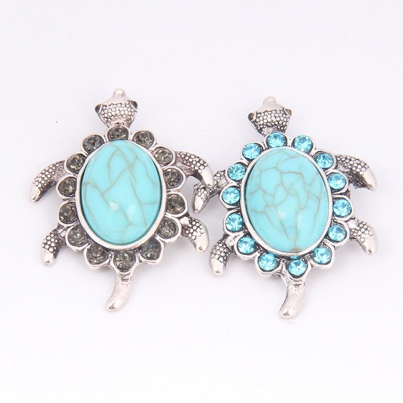 STOCK new 12pcs/lot fit 18MM 20MM DIY interchangeable rhinestone turtle snap jewelry bracelet for women free shipping