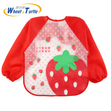 18 Colors Baby Bibs Waterproof with Long Sleeve Feeding Smock Plastic Bib for Kids Children 2-5 Years