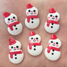 New 20pcs resin Coloured drawing cute Snowman Flat back stone Scrapbook DIY  Christmas ornaments craft PF415*2