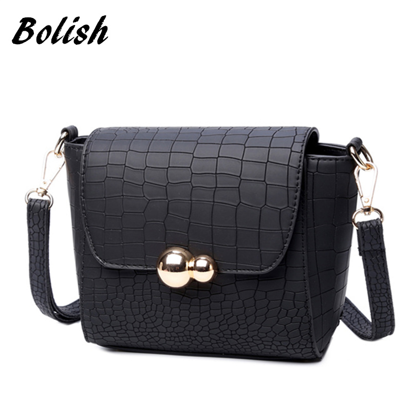 Bolish Vintage Crocodile PU Leather Women Bag Fashion Metal Logo Small Female Shoulder Bag for Crossbody Bag Day clutches 2018 yuanyu 2016 new women crocodile bag women clutches leather bag female crocodile grain long hand bag
