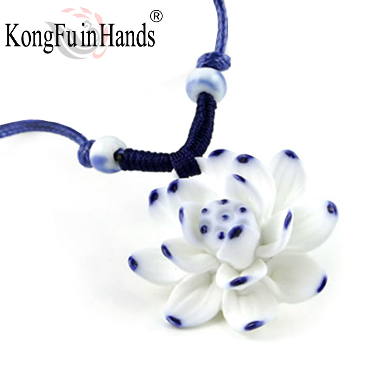 Handmake pretty Lotus long necklace blue whiteCeramic pendant classic vintage sweater chain jewelry birthday gift