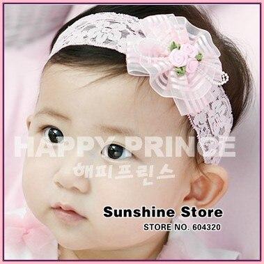 Infant girls baby infantil headband stripe satin triple 3 Flowers pearl headwrap elastic hair accessories lace #2B2279 10pcs/lot