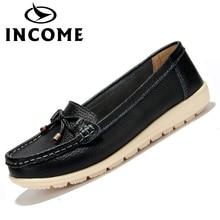 INCOME new real leather-based ladies flats footwear feminine informal flat ladies loafers footwear slips leather-based skyblue flat ladies's footwear