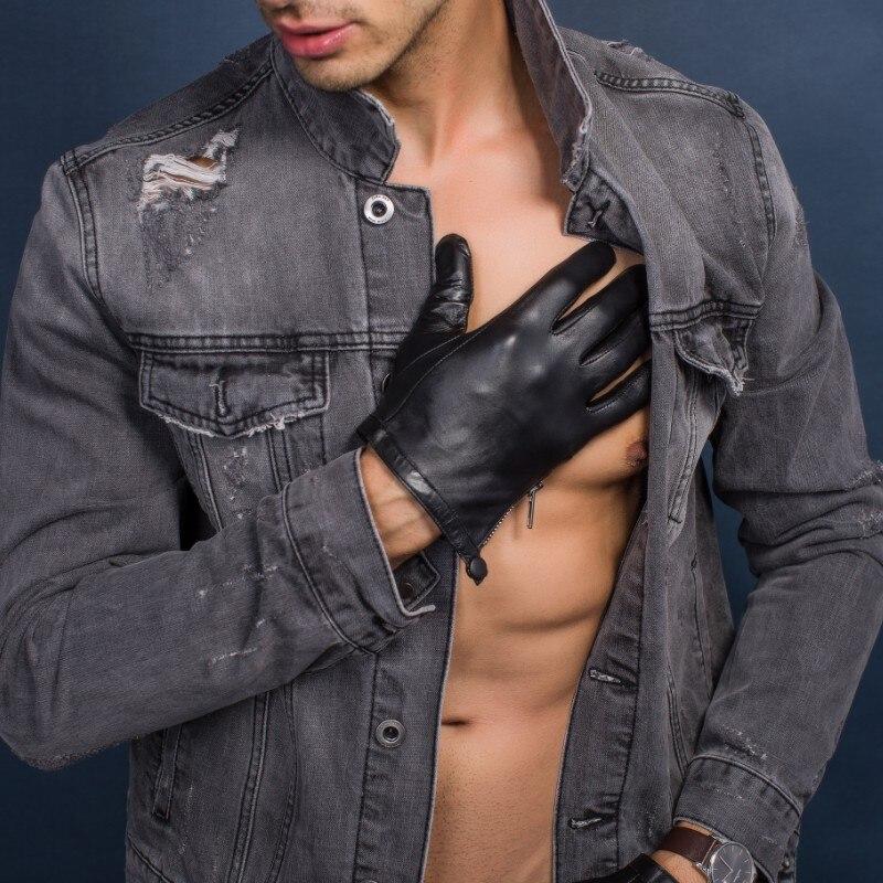 Gants en cuir véritable non doublés pour hommes, coupe courte, style serré, gants d'hiver, écran tactile en peau de chèvre, fermeture éclair latérale avec bouton