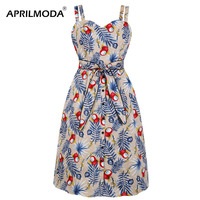 50s Floral Wrap Dress Spaghetti Strap Sexy Summer Beach Party Retro Vintage Pencil Dresses with Belt Work to Wear Midi Sundress