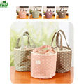 FANYI Portable Dots Print Storage Bag Cotton Drawstring Beam Port Backpack Insulation Picnic Lunch Bag for free shipping