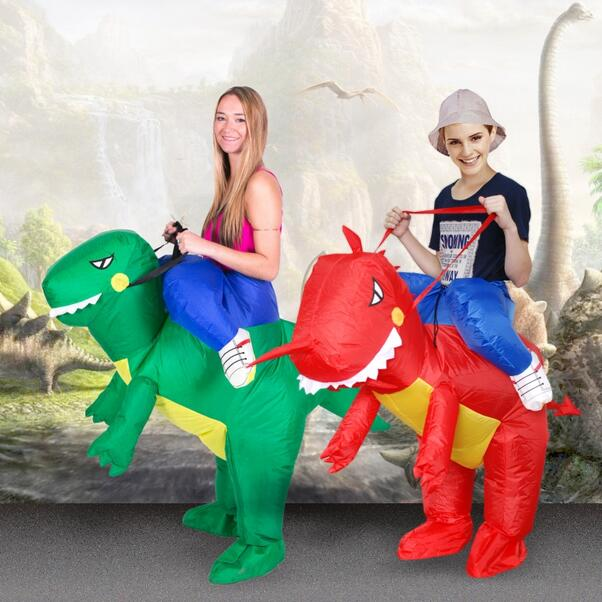 Ride Costume T-Rex Suit Purim Halloween Christmas Party Costumes Adult Kids red dragon Fancy Dress Inflatable Dinosaur Costume