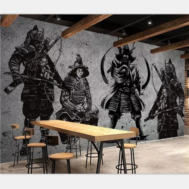 Beibehang carta da parati Personalizzata grande high-end retro dipinto a mano Giapponese Samurai muro di cemento Giapponese ristorante murale della parete
