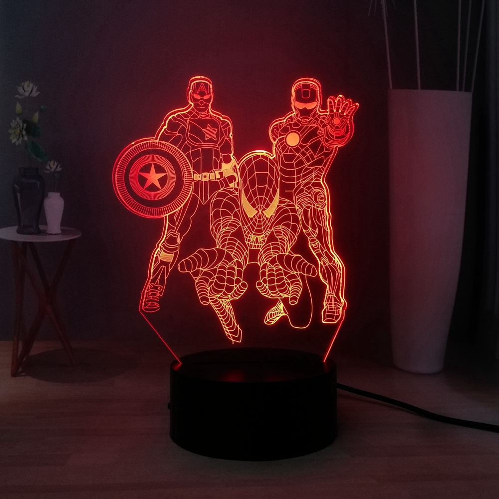 LED Bulbs 3D NIGHT LIGHT Marvel Hero Captain America Spider-Man Tron Man Multicolored USB Switch Table Lamp Kids Birthday Gift