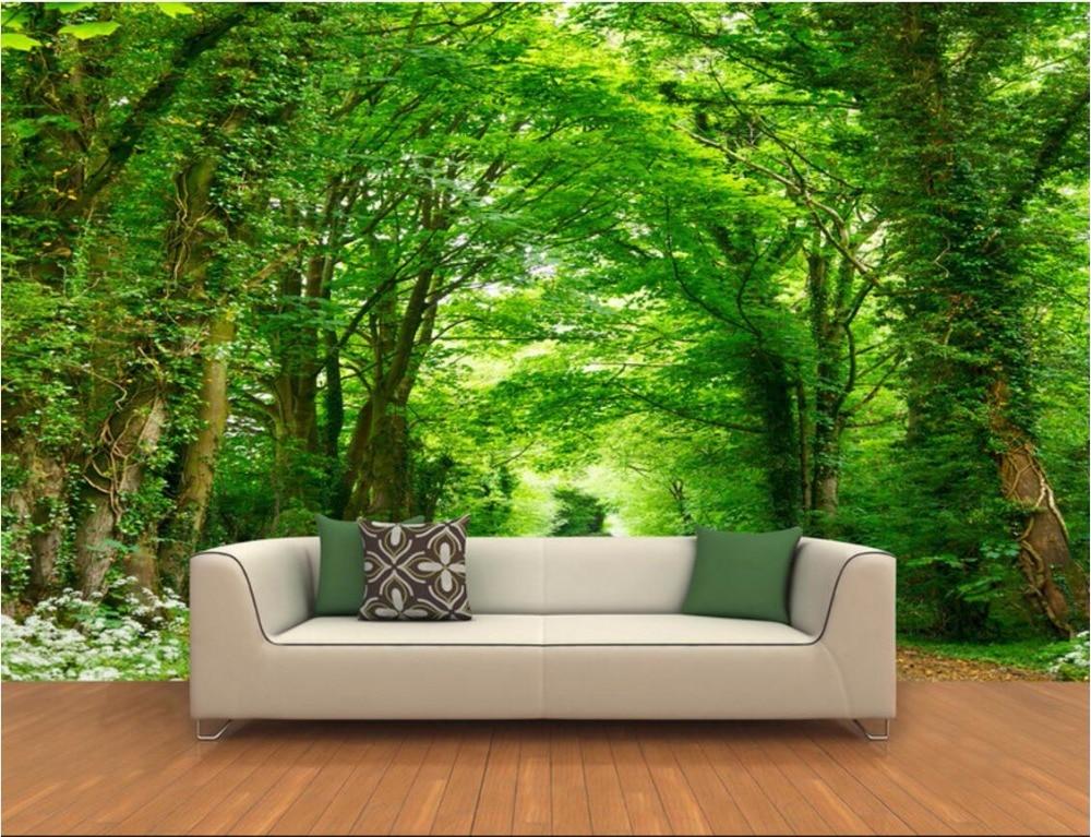 Custom 3d Nature Mural Wallpaper Nature Scenery For Walls: 3d Room Wallpaper Landscape Custom Mural The Forest Trail