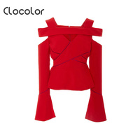 Clocolor Women Blouse Solid Red Flare Sleeve Hollow Backless Patchwork Zipper Slim Top 2017 Fashion Women