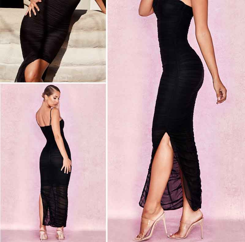 Fantoye Ruched Sheer Sexy Party Dress Women 18 Strapless Slit Long Maxi Dress Elgant Summer Autumn Bodycon Club Wear Vestidos 5