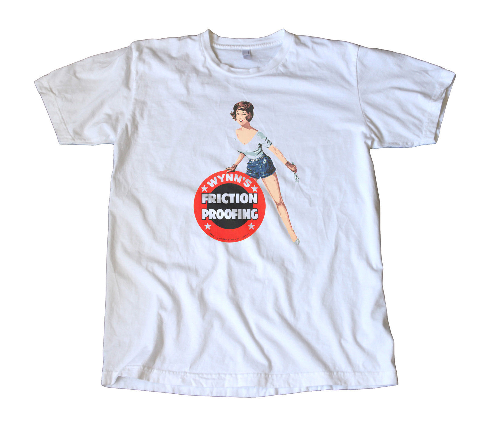 Vintage Wynns Friction Proofing Decal T-Shirt - Pin Up, Shop Girl, Hot Rod