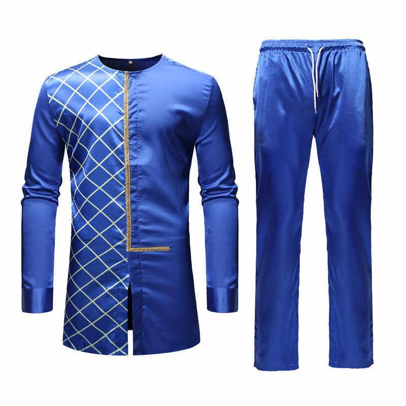 Black African Dashiki Print Top Pant Set 2 Pieces Outfit Set 2019  Traditional Men African Clothes cf37eec77