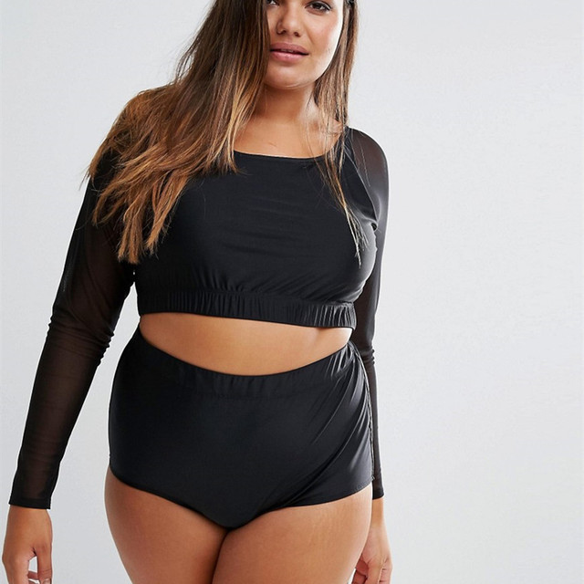 d64c5fa7394 plus size swim suit women 2017 Summer vintage high waist swimwear female  long sleeve bathing suit