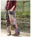2017 Spring Women Brand Trousers Flower Print Plaid Patchwork Ethnic Cross Pants Elastic Waist Harem Pants Loose  Full Trousers