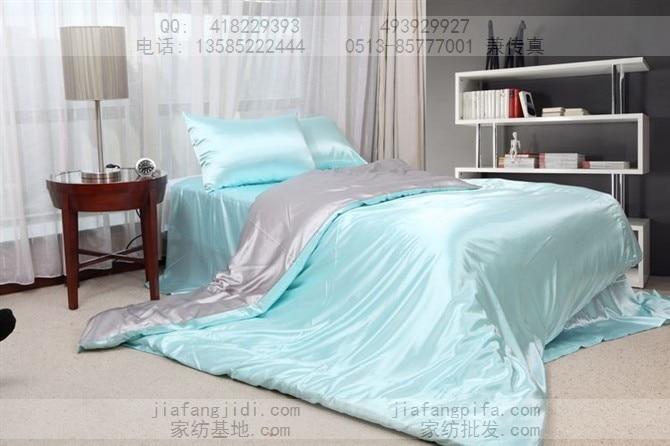 Via super cool silky Persian silk bedding set light blue and gray