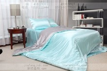 Via super cool silky Persian silk bedding set light blue and gray