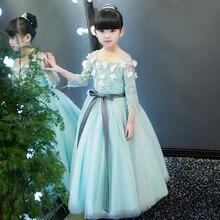2017 Euroepan Elegant Luxury Children Girls  Lace Princess Shoulderless Dress With Flowers Decoration Kids Birthday Party Dress
