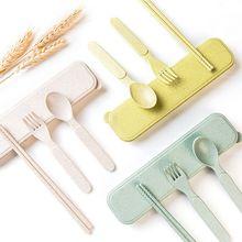 Детские соломенные ложки, палочки для еды, вилки, набор, чехол для хранения, посуда для кормления детей, для малышей, легкие, термостойкие