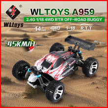 RC Car WLtoys A959 A959-B 2.4G 1/18 Scale Remote Control Off-road Racing High Speed Stunt SUV Toy Gift For Boy Mini