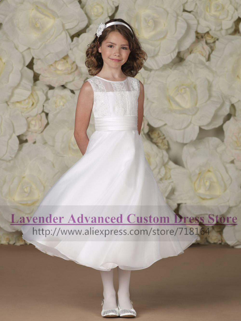 2017 New Style Vintage Flower Girl Dress Organza A Line -4437