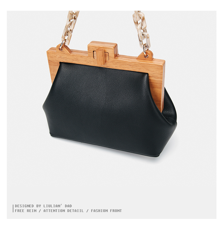 US $31.39 35% OFF|Acrylic Chain Women Bag INS Luxury PU Leather Handbags Spliced Wood Messenger Bucket Shoulder Bag in Shoulder Bags from Luggage &