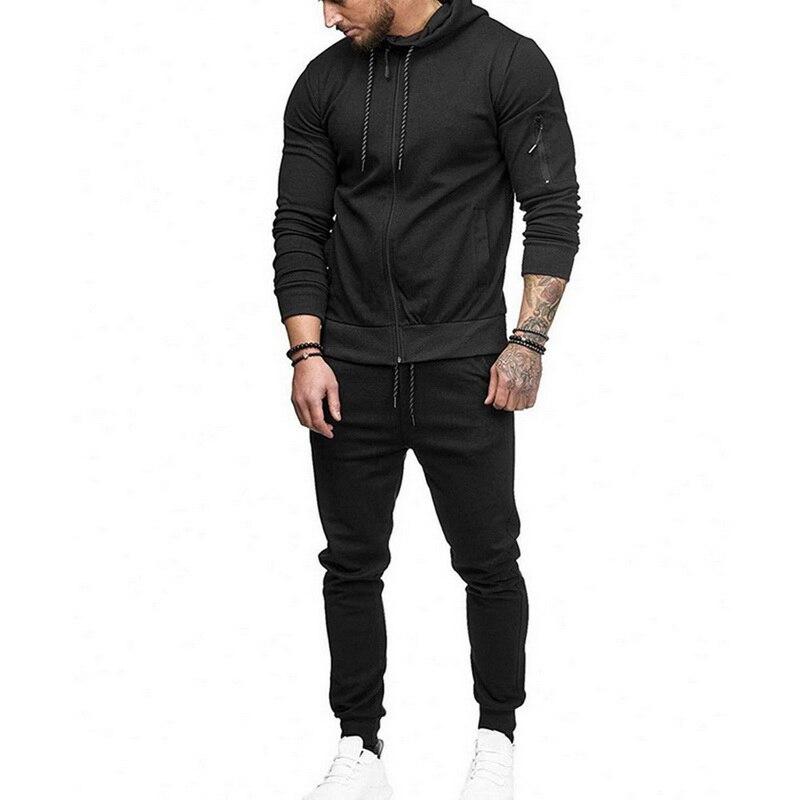 2 Pcs Männer Trainingsanzug Marke Sportwear Set Fashion Solid Schwarz Herren Dünne Sweatshirt & Hosen Jogger Set Plus Größe Casual Zipper Anzug üBerlegene Leistung