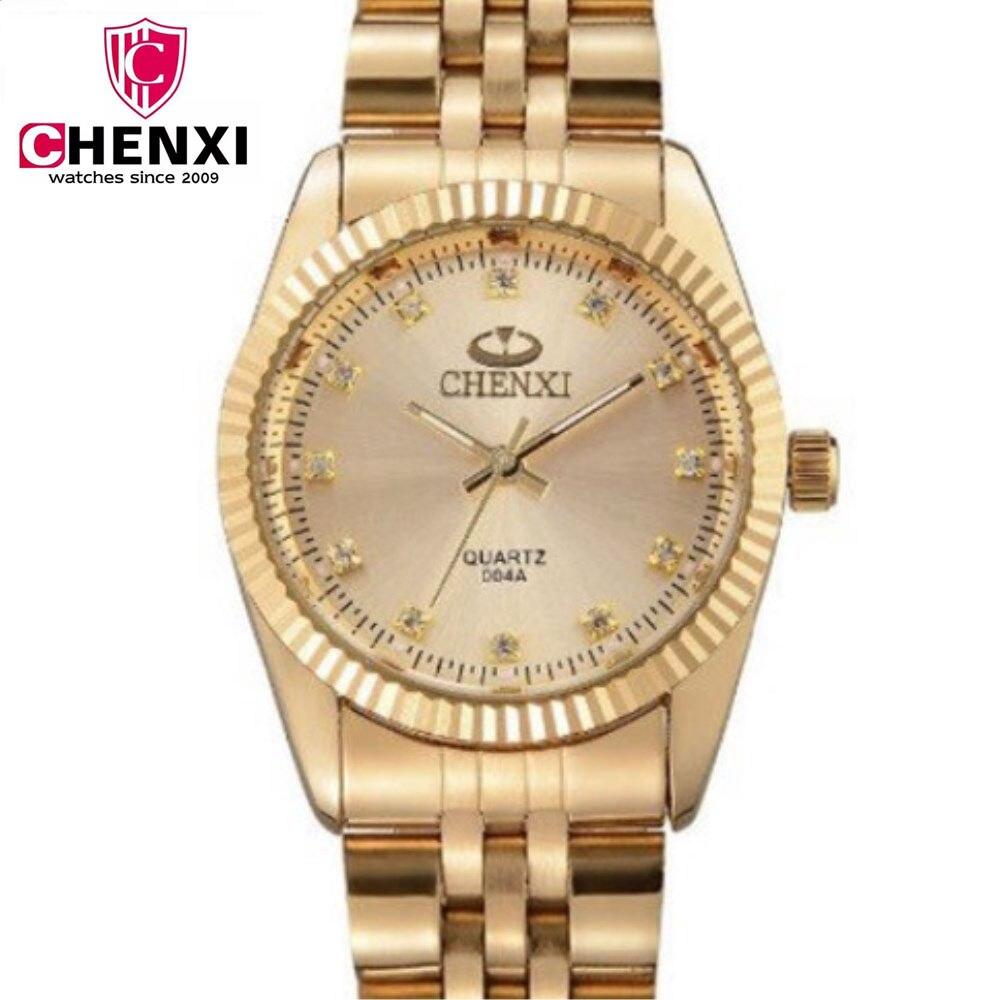 CHENXI Women Golden Watches Ladies Gold Watch gold Bracelets Gifts Quartz Watches Waterproof Rhinestones Quartz Retro Watch analog watch